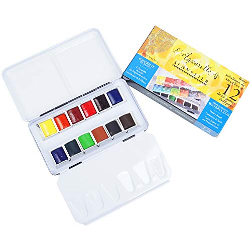 Sennelier L'Aquarelle French Watercolor Paint, Metal Box Pocket Set of 12 Half Pans