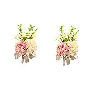 usix 2pc pack-handmade men's lapel pin artificial pink ivory hydrangea flower boutonniere pin for suit wedding groom groomsmen brooch rose boutonniere (style a) silk flower arrangements