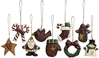 Old World Mini Christmas Ornaments 9 Piece Set Vintage Style Country Primitive Christmas Holiday Décor