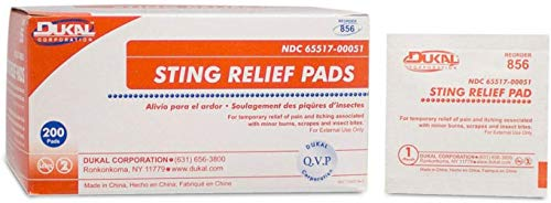Dukal Sting Relief Pads. Case of 200 Anesthetic Pads for Burns, scrapes, Insect Bites. Individual Pouches. 6% Benzocaine, 60% Isopropyl Alcohol. 2-ply Pain Relief Pads.