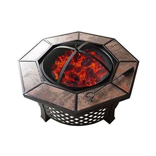 SOAR Brasero Exterior Barbacoas de carbón Fogón Cuenco De Cerámica Patio Octogonal Tabla Barbacoa De Carbón Al Aire Libre Barbacoa Estufa Hogar De Interior Calefacción Brasero