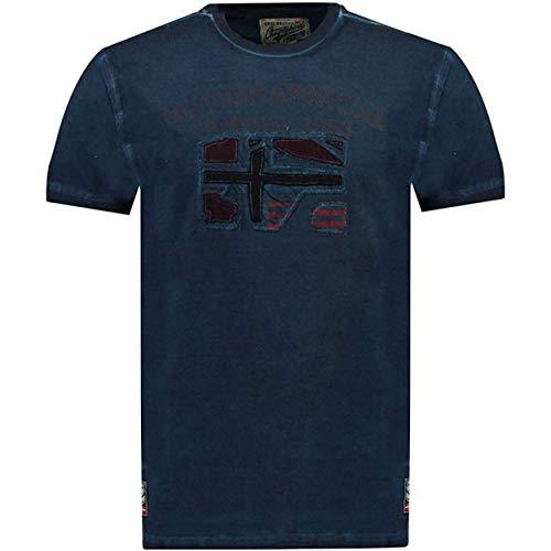 Geographical Norway JOTZ Men - Maglietta Cotone Uomo - T-Shirt Logo Stampa - Maniche Corte - Girocollo Scollo Regular Fit Casual Stile Prodotto Blu Marino L