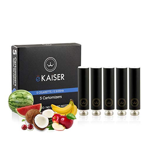 E-Zigarette - E-Liquid 5er Pack Schwarz Cartomizer - Frucht-Mix - E-Shisha - für eKaiser Wiederaufladbar E-Shisha Zigarette (Apfel, Blaubeere, Kirsche, Pfirsich, Erdbeere)