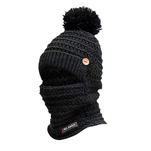 Iusun Women Winter Warm Earmuffs Knit Beanie Hat Mask Scarf Neck with Pom Pom Ball Crochet Hairball Dome Baggy Fleece...