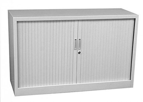 Querrollladenschrank Sideboard 120cm breit Stahl Büro Aktenschrank Rollladenschrank grau 555120 (HxBxT) 750 x 1200 x 460 mm kompl. montiert und verschweißt