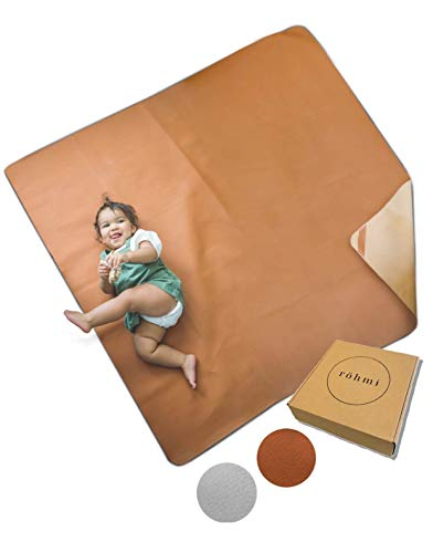 Röhmi Multipurpose Leather Mat | Waterproof and Sand Proof Beach Blanket Wipeable High Chair Splat Mat | Soft Baby Floor Mat | Indoor and Outdoor Portable Picnic Blanket Or Table Cloth (Rust)