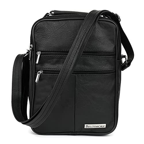 BELTIMORE, Saquito de piel para hombre, con cinturón, 2 bolsillos, 28x21x11 cm, Negro