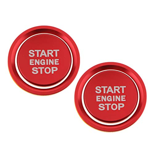 IPOTCH Ajuste de La Tapa Del Botón de Parada de Arranque Del Motor de 2 Piezas para A4 A5 B9 Rojo Brillante