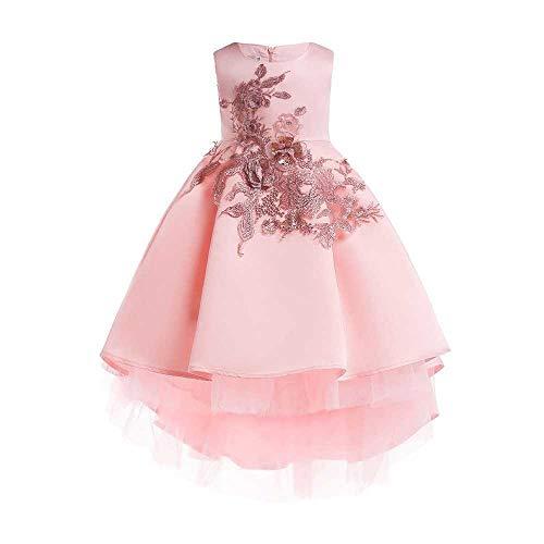 Lovely Prinsessenjurk Princess Dress Girls strik Princess Dress Satin Flower Girl bruiloft kostuum Piano prestaties kleding 3-9 jaar hjm gongzhuqun (Color : Pink, Size : 7-8Years)