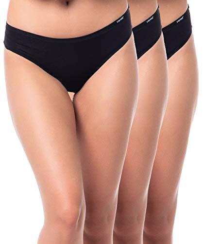 Yenita 3er Set Damen Basic Unterwäsche-Collection, Bikini-Slip, Schwarz, Gr. M