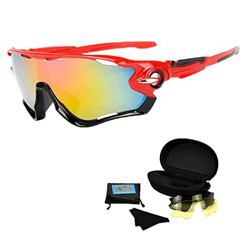 Occhiali da Sole Bici Corsa, 3 Lenti Occhiali Ciclismo Intercambiabili, Occhiali Polarizzati, Occhiali mtb Fotocromatici, Antiappannamento Occhiali Sportivi, Sole Anti UV da Uomo Donna, MTB, Running