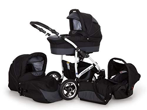 Lux4kids Kinderwagen 3in1 Buggy Babyschale Babywanne Autositz Alles in einem Larmax Jeans Grau
