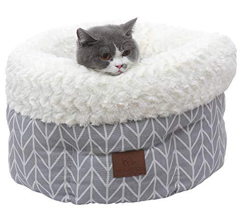 Miss Meow Katze Hundebett, Rund Deep Sleep Selbst Erwärmung, Baumwolle, Faux Wildleder, Leinen Stoffe, Grau/Weiß