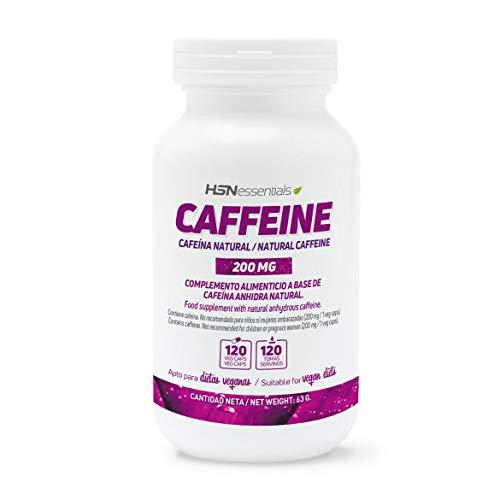 Cafeína Natural de HSN | 200 mg | Suministro para 4 Meses | Extracción de Granos de Café Verde | Estimulante de Efecto Rápido + Quema Grasas | Vegano, Sin Gluten, Sin Lactosa, 120 Cápsulas Vegetales