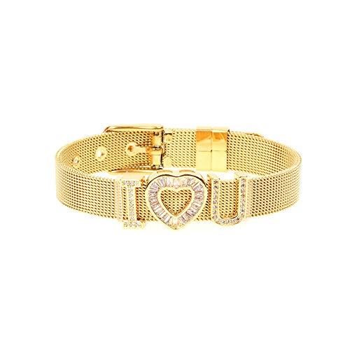 NANA318 Micro Inlaid Zirkoon Jongen en Meisje Liefde Armband Echt Goud Kleur Horloge met Hart Armband