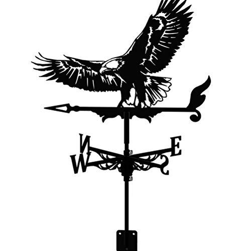 TYFY Wetterhahn, rostfreier Stahl Windfahne, Deko-Wetterfahne, Wetterfahne im Antik Stil, Windrichtungsanzeiger Windspiel Wetterfahne fürs Dach, Garten Deko schwarz