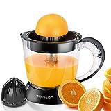 Aigostar Thomas - Electric citrus juicer 0% BPA. 40W, 2 interchangeable cones, adjustable pulp quantity, bidirectional rotation, 1L. Black.