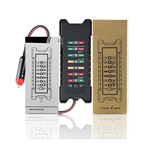 HUANHUAN CAREG 1 2V 24V Probador de batería de Coche Teser de Arranque rápido alternador 7 DIRIGIÓ Pantalla de luz Herramientas de diagnóstico automático 24 voltios Analizar batería (Color : BM420)