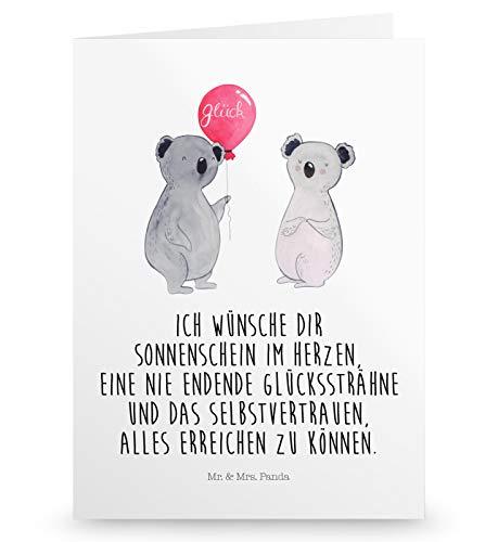 Mr. & Mrs. Panda Einladungskarte, Klappkarte, Grußkarte Koala Luftballon mit Spruch - Farbe Weiß
