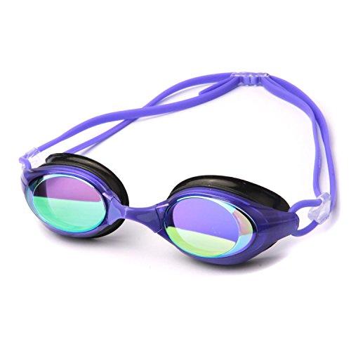 ポクスイム アクア ミラー仕上げ スイム ゴーグル 8300 曇り防止 UVカット, 色付きスイミング ゴーグル - Speedo, Aqua Sphere, Arena と比べてください - 大人男女 (パープル)
