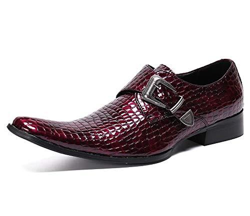 XLH Herren Lederschuhe Imitation Krokodilleder Spitzschuh Schuhe für Formale, beiläufige, Büro, Party, Geschäft Personalisiert Cowboy Singer Punk Red Shoes,EU42