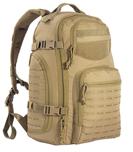 Military Tactical Backpack Bugout Bag Lazer Cut MOLLE Hiking Backpack Daypack EDC Pack 40L - brown - Medium