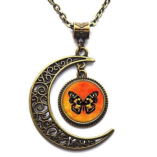 Hermoso collar de mariposa monarca, collar monarca, joyería de la naturaleza, hermoso collar de la naturaleza-#199