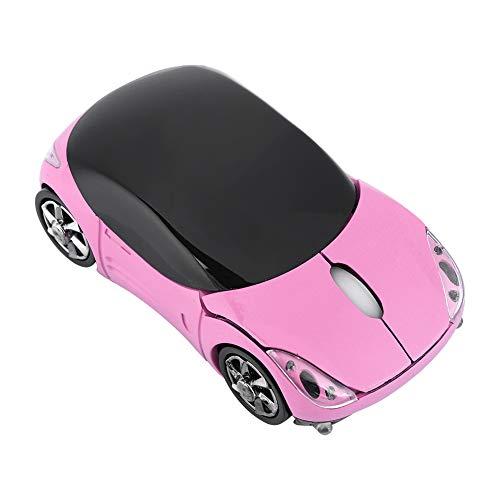 ASHATA Bluetooth Wireless Mouse,Automobile Sportiva Portatile Mouse Ottico Bluetooth a Forma di Auto Sportiva 2.4G con Ricevitore USB, 1600 DPI Ergonomico Mouse per PC Desktop Portatil(Rosa)