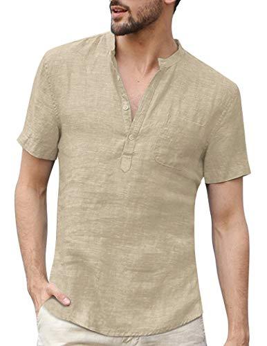 Yitrend Hemd Herren Kurzarm Leinenshirt, Männer Freizeithemd Henley Shirt Sommer Casual Hemden Leichte Atmungsaktives Bequem Sommerhemden Khaki L