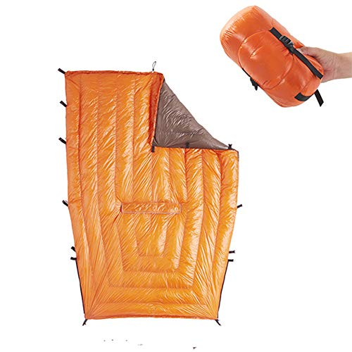 N / C Saco de Dormir de edredón pequeño, plumón de Ganso, Pelo Alto, Aislamiento térmico, sin deformación, cinturón Ajustable, Adecuado para Acampar al Aire Libre