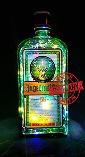 Flaschen-Lampe aus Jäger-Meister Flasche - Flaschenlampe mit 80 LEDs Bunt Upcycling Geschenk Idee