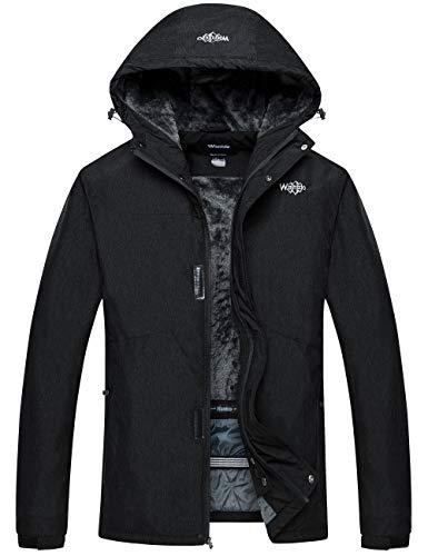 Wantdo Men's Hooded Mountain Jacket Windproof Winter Snowboarding Coat Black XL