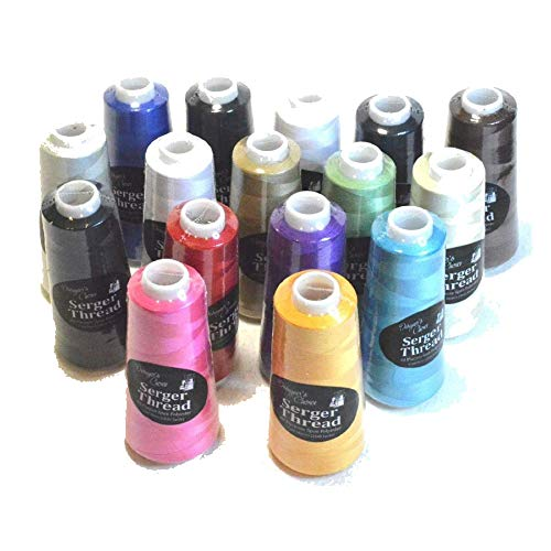 Bundle Set of 16 Assorted Colors of Serger Quilting Embroidery Thread Cones - 1500M