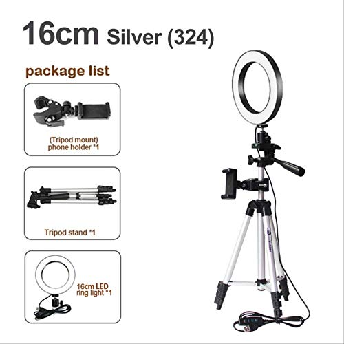 16/20 / 26cm Fotografía Regulable Led Selfie Ring Light Video Live 5500k Photo Studio Light con Soporte para teléfono USB un tamaño 16cm Tipo 3 en 1