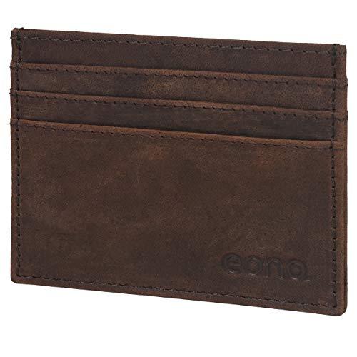 Amazon Brand - Eono - Tarjetero de Cuero con Compartimento para Billetes para Mujer y Hombre con diseño Plano y protección contra Lectura RFID (Cuero marrón Vintage/Aspecto Usado)