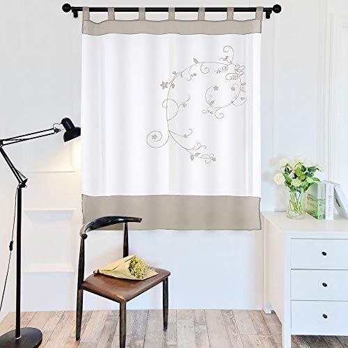 laamei 1Pc Voile Cortina Translúcidas Visillos Cortas con Bordado Floral Decoración para Ventanas Habitaciones Dormitorios Salones