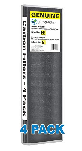 Guardian Technologies GermGuardian Air Purifier GENUINE Carbon Filter Pack for use with FLT4825 Filter B for AC300/AC800/900 Series Germ Guardian Air Purifiers, Black, 4 Count