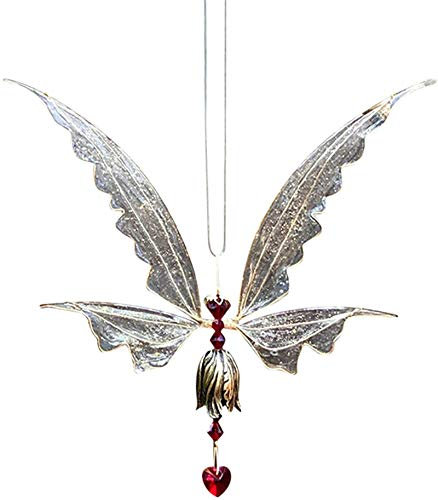 HHYSPA Butterfly Ornaments, Fairy Hanging Crystal Suncatcher with Wings Hanging Pendant for Home Decoration, Hanging Crystal Suncatcher Outdoor Indoor Sun Catchers Pendant (Red)