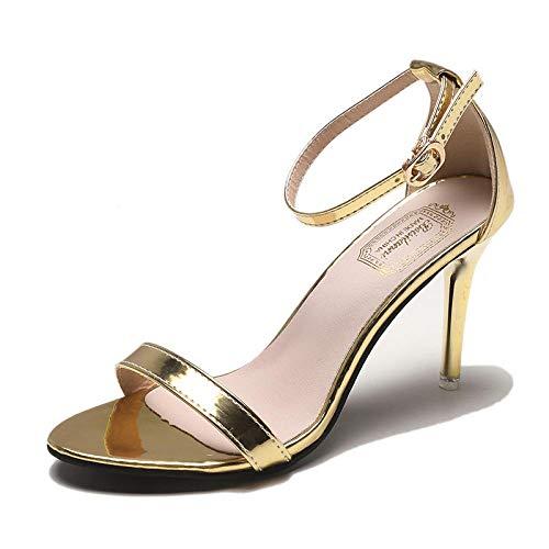 Satijnen pumps met open teen,Damessandalen met open teengesp, stiletto damesschoenen met hoge hakken, goud_40,Flower Sandals Trouwschoenen
