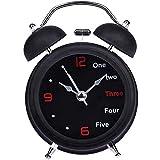 Faus Koco Mantel Reloj sin tictac de 4 pulgadas Twin Bell Alarm Clock-Metal Mark Dial 3D con Función de retroiluminación - Mesa de escritorio Oficina de reloj, Escritorio, Estante y Decoración para el
