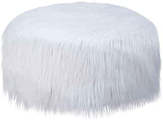 Luonita Inflatable Chair Stool Ottoman Faux Fur Plush Luxury Soft Sofa Stool Pluffy Cube Foot Rest Footstool for Women Girls Living Room, Changing Room, Bedroom (White,B, 19.68 x 19.68 x 9.84in)