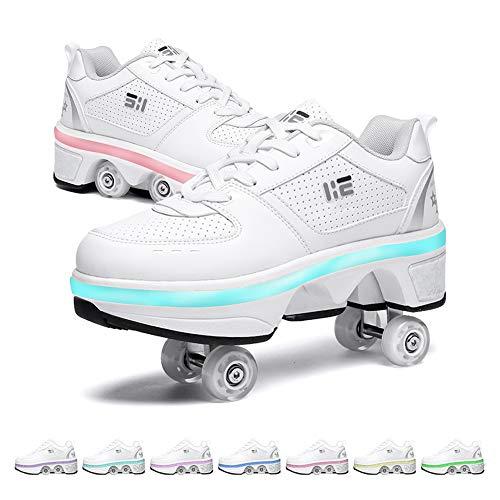 GGOODD Zapatos con Ruedas Zapatos Skate Zapatos Multiusos 2 En 1 Skate Ligeros Calzado con 7 Colores Luces LED Zapatillas Deportes Al Aire Libre para Mujeres Y Hombres,41