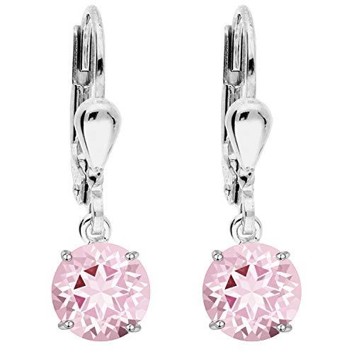 LÖB Damen Ohrringe 925 Silber rhodiniert mit Zirkonia Strass Stein Creolen Ohrhänger Hängend Diamant Form Rosa Pink Anhänger