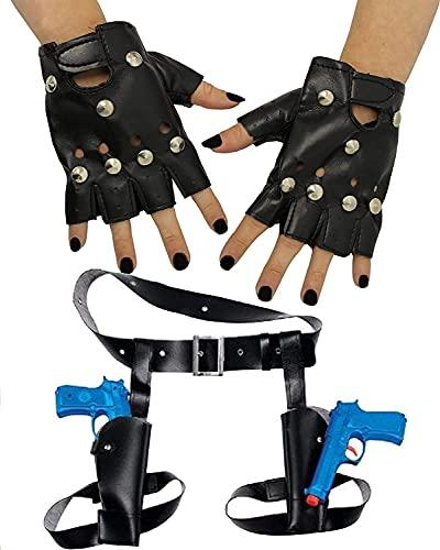 Dreamzfit - Déguisement Lara Croft Tomb Raider Temple Hunter de la cuisse avec deux pistolets, étui et gants punk cloutés