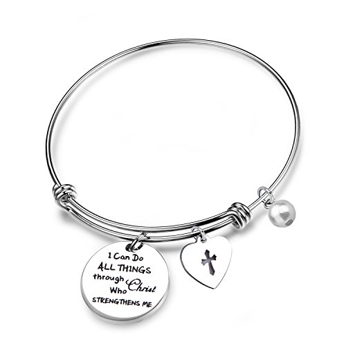 LQRI Philippians 4:13 Bracelet Strength Bible Verse Expandable Wire Bangle Christian Jewelry Religious Jewelry Inspirational Gift(Wire Bangle)