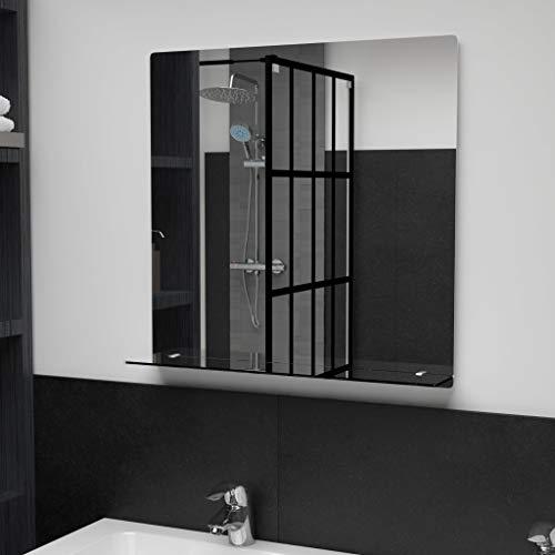 Benkeg Espejo De Pared De Baño con Estante De Vidrio Templado 60 x 60 cm, Espejo De Pared Rectangular con Estante para Salón, Recibidor, Comedor, Dormitorio