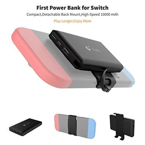 Power Bank Compatible con Nintendo Switch Respaldo de Carga de Batería de, 10000mAh Type-c / USB A Banco de Energía Portátil de Doble Salida para Dispositivos de Conmutadores y Móviles