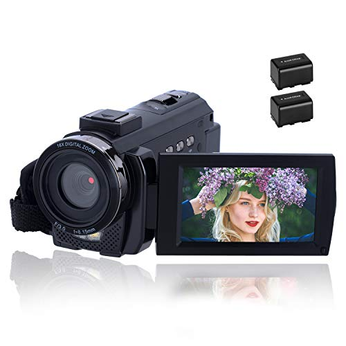 Videocámara 1080P CofunKool Video Camara 24MP FHD Vlogging Camera para Youtube, 270 ° Flipping 3.0' Pantalla táctil IPS con Control Remoto y 2 baterías rechargeables