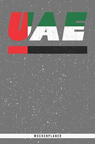 UAE: Arabische Emirate Wochenplaner mit 106 Seiten in weiß. Organizer auch als Terminkalender, Kalender oder Planer mit der emiraten Flagge verwendbar