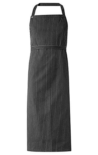 Greiff Latzschürze im 3er Packet | Verstellbares Halsband | Schwarz/Weiß Gestreift |Einheitsgröße | 77x110